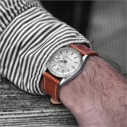 BandRBands 20mm Light Brown textured calf leather watch strap band on a vintage Rolex Date Just 1603