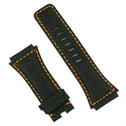 Bell & Ross BR02 watch strap in black carbon fiber with white stitching