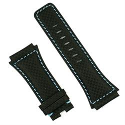 bell & ross watch band for the br02 in black carbon fiber with blue stitching